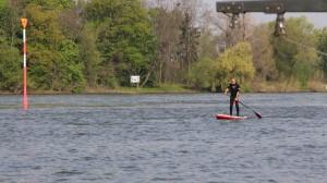 Tom paddles in
